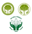Natural product icon with hands and leaves vector image vector image