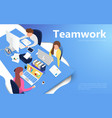office workers at work place teamwork concept vector image