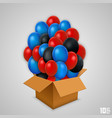 open paper box with balloons vector image vector image