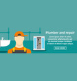 plumber and repair banner horizontal concept vector image vector image