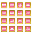 railway carriage icons set pink square vector image vector image