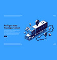 refrigerated transportation isometric landing page vector image