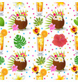 seamless background with tropical alcoholic vector image vector image