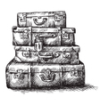 sketch drawing luggage bags vector image vector image