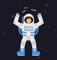 Surprised astronaut says OOPS Perplexed cosmonaut vector image vector image