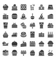 sweets and dessert icon set solid style vector image vector image