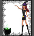 template with cute green eyed witch in short vector image vector image