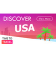 usa tour banner time to travel - placard in pink vector image vector image