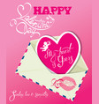 vintage card with envelope and pink paper heart vector image vector image
