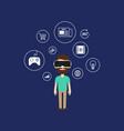 virtual reality technology concept flat design vector image vector image