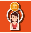 woman and bank isolated icon design vector image