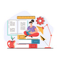 woman girl student character reading open book vector image vector image