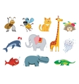 Zoo animals set vector image