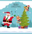 merry chrismtas card cartoon vector image