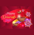 happy diwali 2017 banner with flowers and lamps vector image