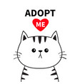 adopt me dont buy contour cat face silhouette red vector image vector image