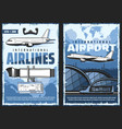 airport and airplane international flight posters vector image vector image