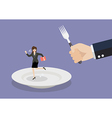 Business woman run away from big hungry man vector image vector image