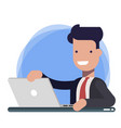 businessman character working on laptop male vector image
