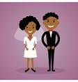 Cartoon afro-american bride and groom Cute black vector image