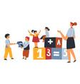 children at school or kindergarten playing cubes vector image