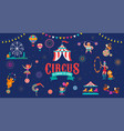 circus banner and background with tent monkey vector image vector image
