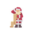 confused santa claus reading a kids letter vector image