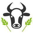 cow and wheat agriculture flat icon vector image vector image