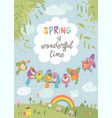cute cartoon colorful birds and spring landscape vector image