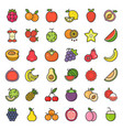 cute fruit and berries filled outline icon set 2 vector image