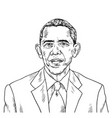 drawing barack obama caricature vector image vector image