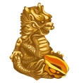 figure golden dragon with an offering vector image