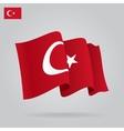 Flat and waving Turkish Flag vector image