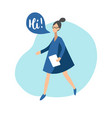 flat girl with speech vector image vector image
