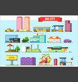 flat set of big city elements children vector image