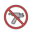 forbidden sign with piercing gun color icon vector image vector image