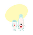 funny milk bottle and glass characters with vector image vector image