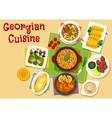 Georgian cuisine meat and vegetable dishes icon vector image