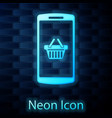 glowing neon shopping basket on screen smartphone vector image vector image