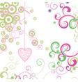 green and pink heart with florals card vector image vector image