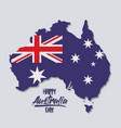happy australia day poster with australia map with vector image vector image