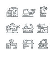 industrial machines line icons factory vector image vector image