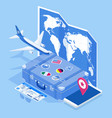 isometric travel and tourism background buying vector image vector image