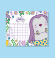 july calendar information with penguin and plants vector image