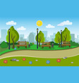 landscape of the city park vector image vector image