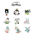 Merry Christmas hand drawn cute doodles stickers vector image vector image