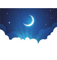 night with moon and stars - placard vector image