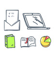 office paper and laptop book icons set vector image vector image
