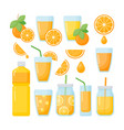 orange juice flat icons set vector image vector image