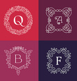 Ornament monogram mono line floral frame set vector image vector image